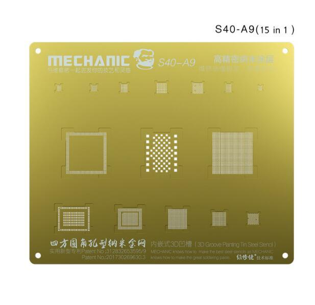 شابلون طلایی و 3D برند Mechanic جهت شابلون آیسی های آیفون 6s